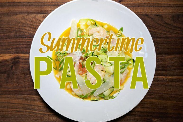 Summertime Corn, Tomato & Shrimp Zucchini Pasta